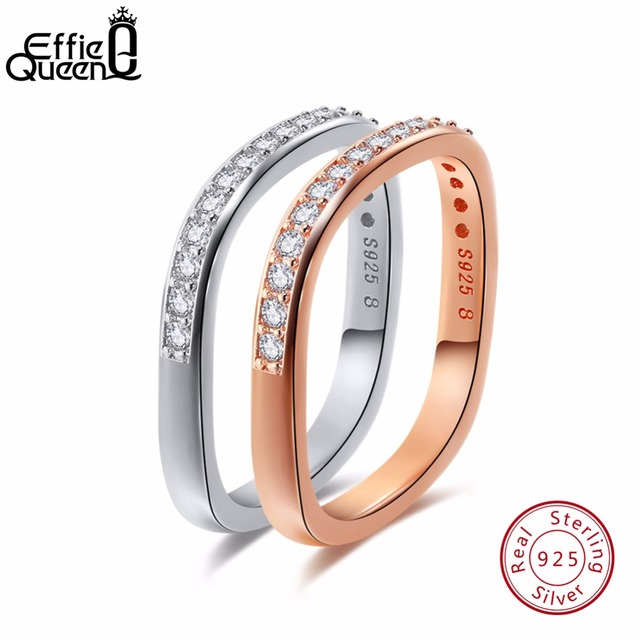 Effie Queen 100% 925 Sterling Silver Female Jewelry Rose Gold Color Finger  Ring For Women
