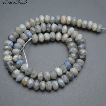 Shiny 5X8mm Faceted Natural Labradorite Stone Rondelle Loose Beads 5 strands per lot