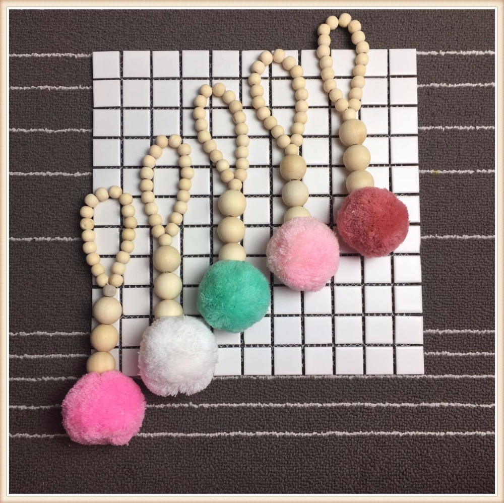 Beaded door curtains for kids - Ins Nordic Style Wood Bead String With Pompom Tent Hanging Pendant Curtains Hanging Children Room Decoration