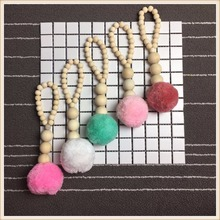 INS Nordic style wood bead string with pompom Tent hanging pendant Curtains hanging Children room decoration Home craft ornament