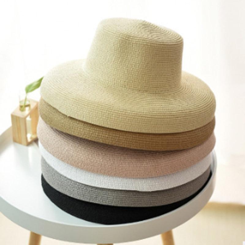 2019 Hot Summer Women Boater Beach Hat Female Casual Panama Hat Lady Brand Classic Flat Bowknot Straw Sun Hat Women Fedoras