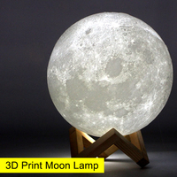 USBRechargeable 3D Print Moon Lamp Yellow Red Change Touch Switch Bedroom Bookcase Night Light Home Decor