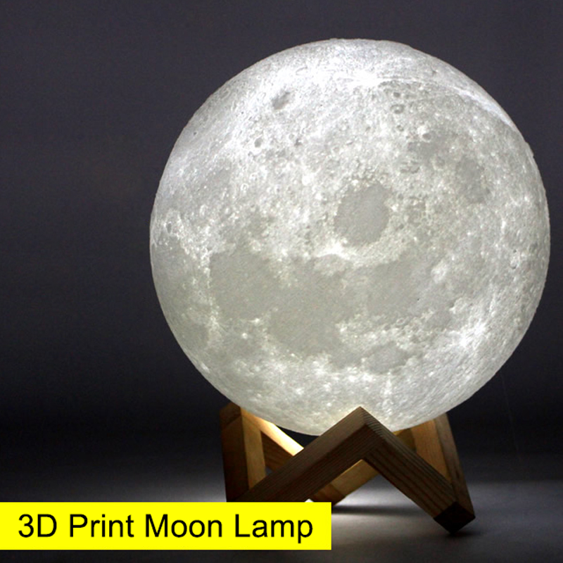 USBRechargeable 3D Print Moon Lamp Yellow Red Change Touch Switch Bedroom Bookcase Night Light Home Decor Creative Birthday Gift rechargeable night light 3d print moon lamp 9 color change touch switch bedroom bookcase nightlight home decor creative gift