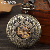 Vintage Exquisite Carving Dial Mechanical Pocket Watch Chain Men Double sided Hollow Skeleton Steampunk Mechanical Pocket Watch