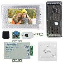 """7 """"color de vídeo teléfono de puerta de intercomunicación cámara con 12 v fuente de alimentación de control de acceso + + interruptor de control remoto para el Hogar sistema de Seguridad"""