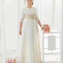 Шифоновое кружевное платье с рукавом три четверти для первого причастия для девочек; Платья с цветочным узором для девочек на свадьбу; пышные платья для девочек