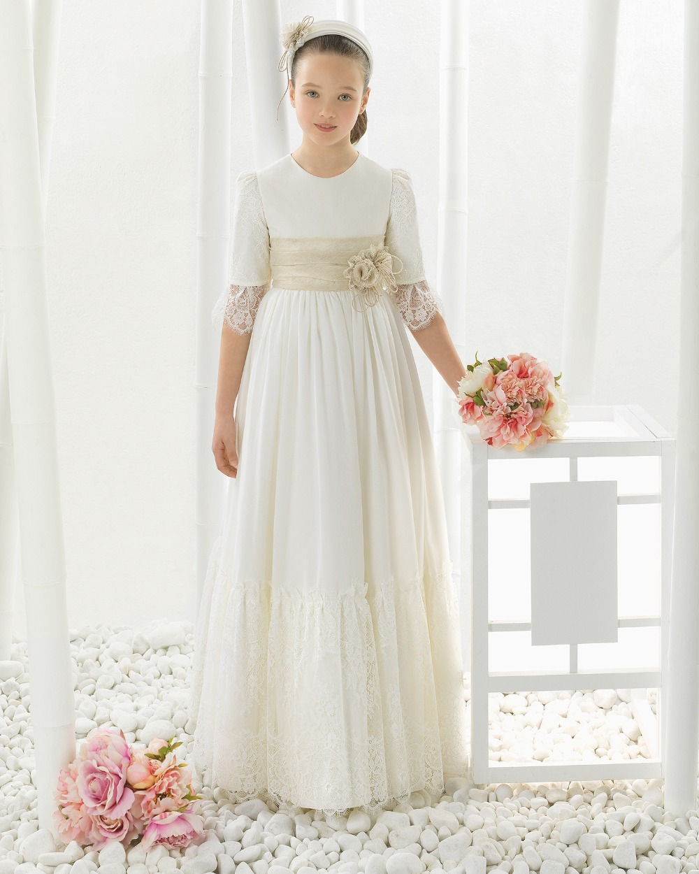 2018 Chiffon Lace Three Quarter first communion   dresses   for   girls     Flower     Girl     Dresses   for weddings   girls   pageant   dresses