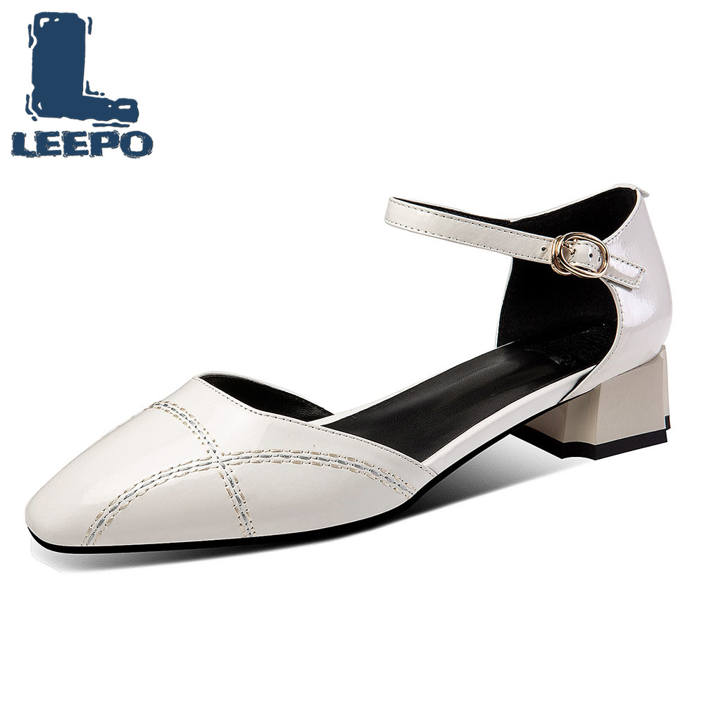 LEEPO Ankle Strap Sandals Women Genuine Leather Summer Low Heels Pumps Shoes Woman Round Toe Buckle Sandals Ladies Party ShoesLEEPO Ankle Strap Sandals Women Genuine Leather Summer Low Heels Pumps Shoes Woman Round Toe Buckle Sandals Ladies Party Shoes