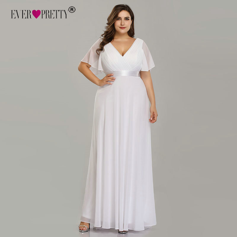 Plus Size Wedding Dress, Pretty Simple A-line Dress for Women, Chiffon  White Robe Elegant V-Neck Dress