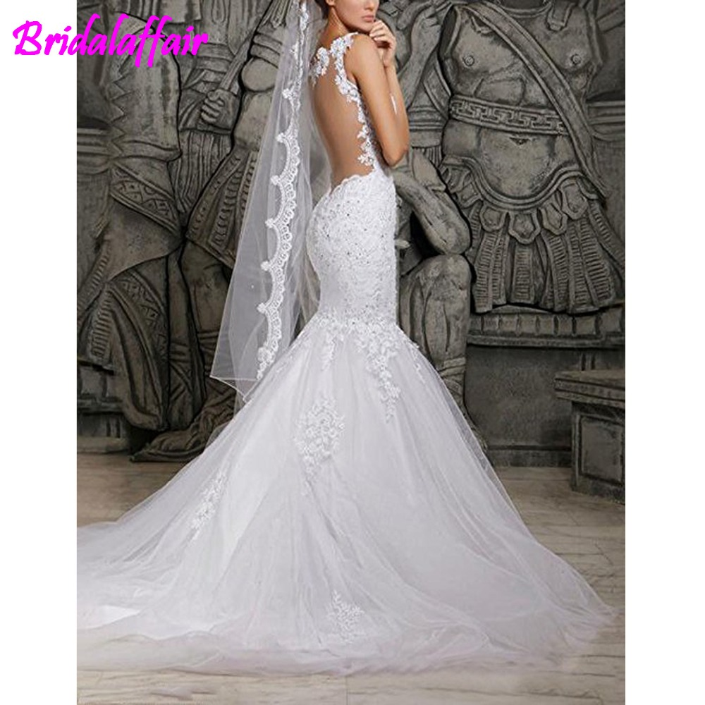 Women 39 Mermaid Lace Backless Spaghetti Wedding Dresses Big Size church Bridal Gowns robe de Mariage Tulle White Wedding Gown in Wedding Dresses from Weddings amp Events
