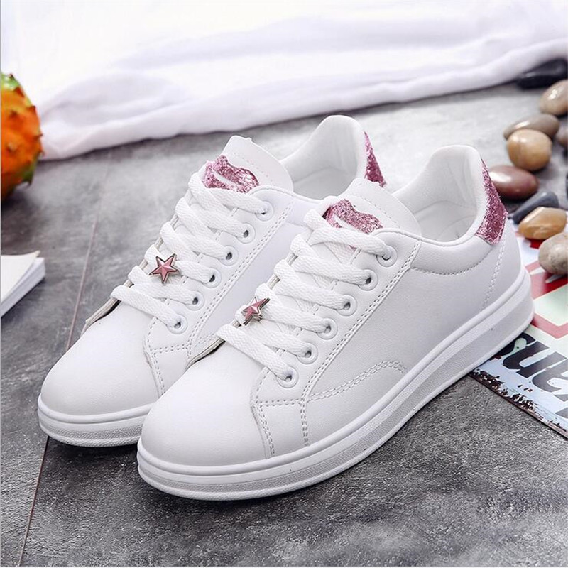 Female shoes sneakers women casual shoes cheap PU leather sewing fashion lips lace up ladies White shoes woman sneaker size35-40