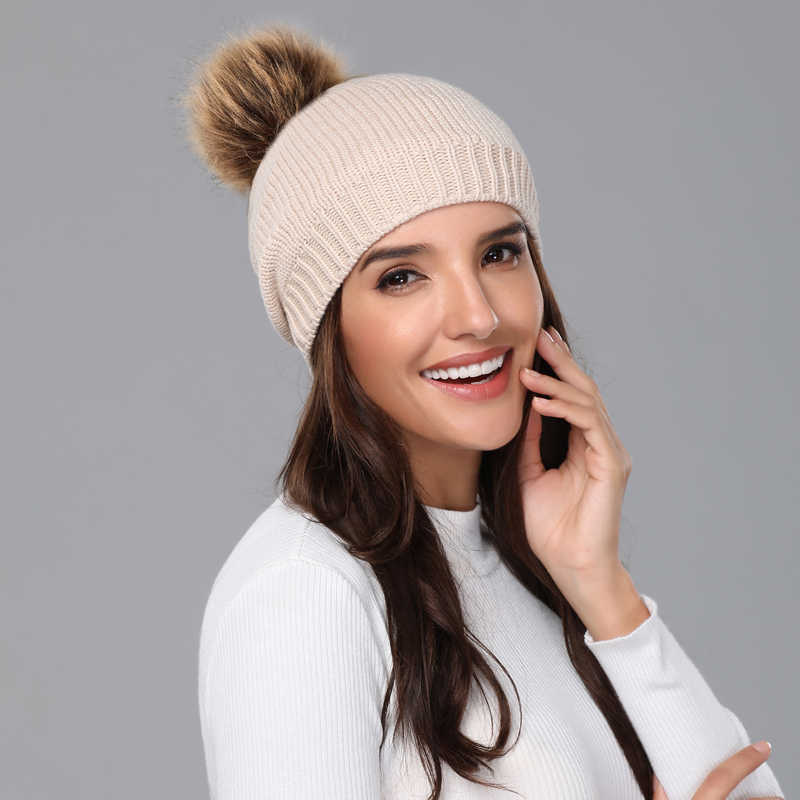 6b4f333156f7 ... Girita Women s Winter knit hat Skullies Beanies fleece lined Hats  crochet Pompon Fur Female Warm Caps ...