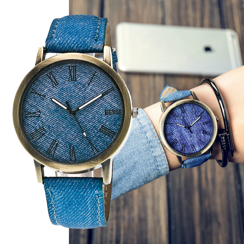 2019 Fashion Jeans Cloth Leather Women Watches Luxury Brand Casual Ladies Quartz Watch Girls Clock Wristwatches Montre Femme #F6