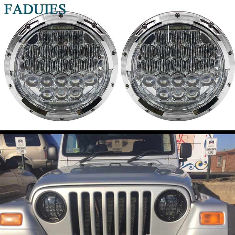 FADUIES Chrome 7 Halo LED Headlight with DRL Angel Eyes For Hummer H1 H2 126W 5D H4 Headlight For Jeep Wrangler Jk Tj Fj Hummer pair jk wrangler 7 inch round led headlight halo angel eye drl led projection lens for harley motorcycle lj tj fj jeep