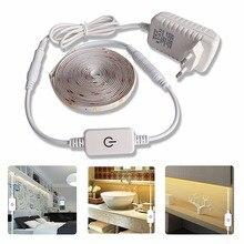 5 м светодиодный светильник водонепроницаемая лента 2835 Светодиодная лента с регулируемой яркостью сенсорный выключатель 12 в источник питания для кухонной лампы под шкаф
