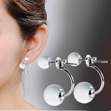 Lose money promotion high quality fashion double opal stone 925 sterling silver ladies`stud earrings jewelry gift