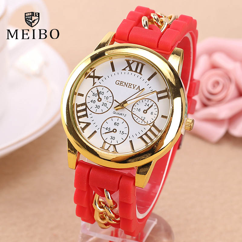 2016 New Famous Brand Gold Alloy Chain Geneva Casual Quartz Watch Women Silicone Watches Relogio Feminino Wristwatches Hot Sale