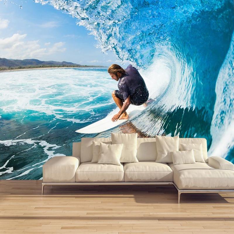 Customized 3D Stereoscopic Mural Wallpaper Surf Roll Waves Modern Sports Theme Wall Mural Restaurant Bar KTV Room Sofa Backdrop