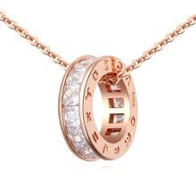 Fine Trendy Women Jewelry Gold Color Roman Letter Round Circle Pendant Necklace Cubic Zirconia Bijoux Necklaces & Pendants