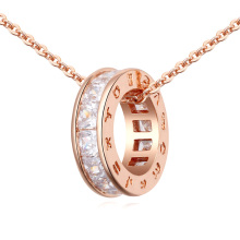 Fine Trendy Women Jewelry Gold Color Roman Letter Round Circle Pendant Necklace Cubic Zirconia Bijoux Necklaces & Pendants