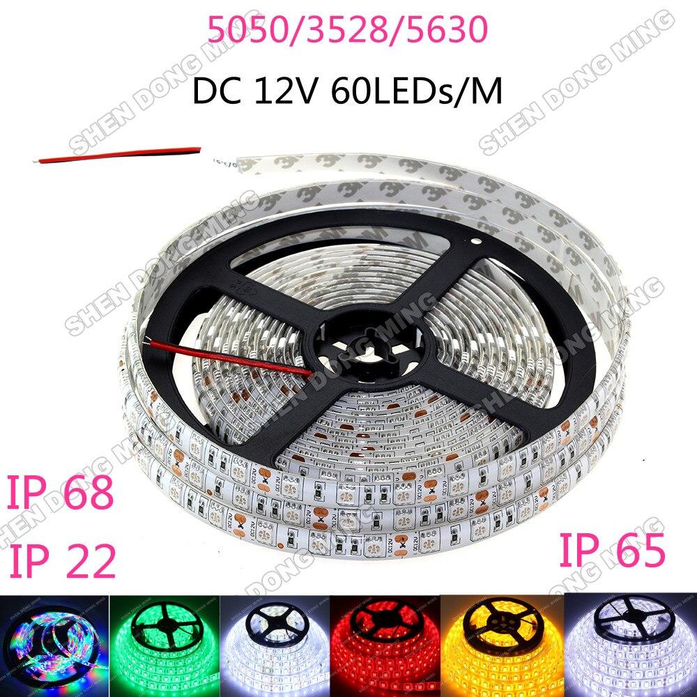 RGB Led Strip 3528/5050/5630 Fita Led String Stripe Bar Neon Bombillas Lamp DC 12V 60LEDs/M Indoor Home Decoration IP 65/22/68