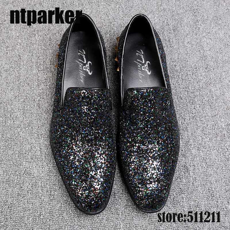 ntparker Italian Style Leather Shoes Round Toe Flat Dress Shoes Sapatos Homens Black Bling Wedding and Party Shoes, ize 38-46 men shoes wedding dress italian style men oxford genuine leather lace up black flats shoes luxury brand shoes sapatos homens