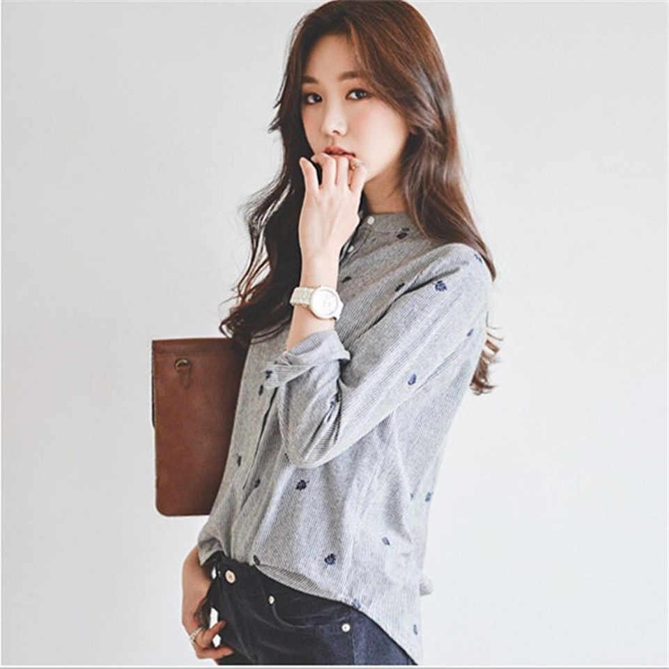 Zomer Herfst Vrouwen Tops En Blouses 2019 Lange Mouwen Borduren Shirt Koreaanse Stand Kraag Blouse Shirts Vrouwelijke Kantoor Kleding