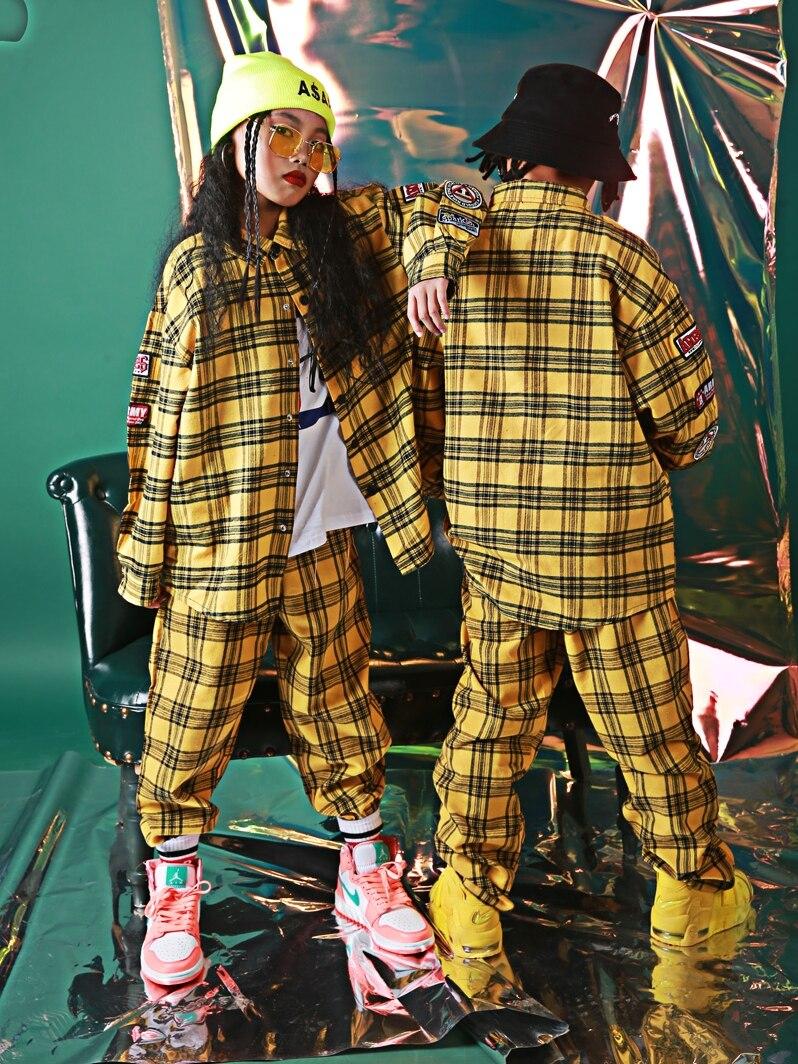 Crianças harem casual amarelo xadrez calças soltas