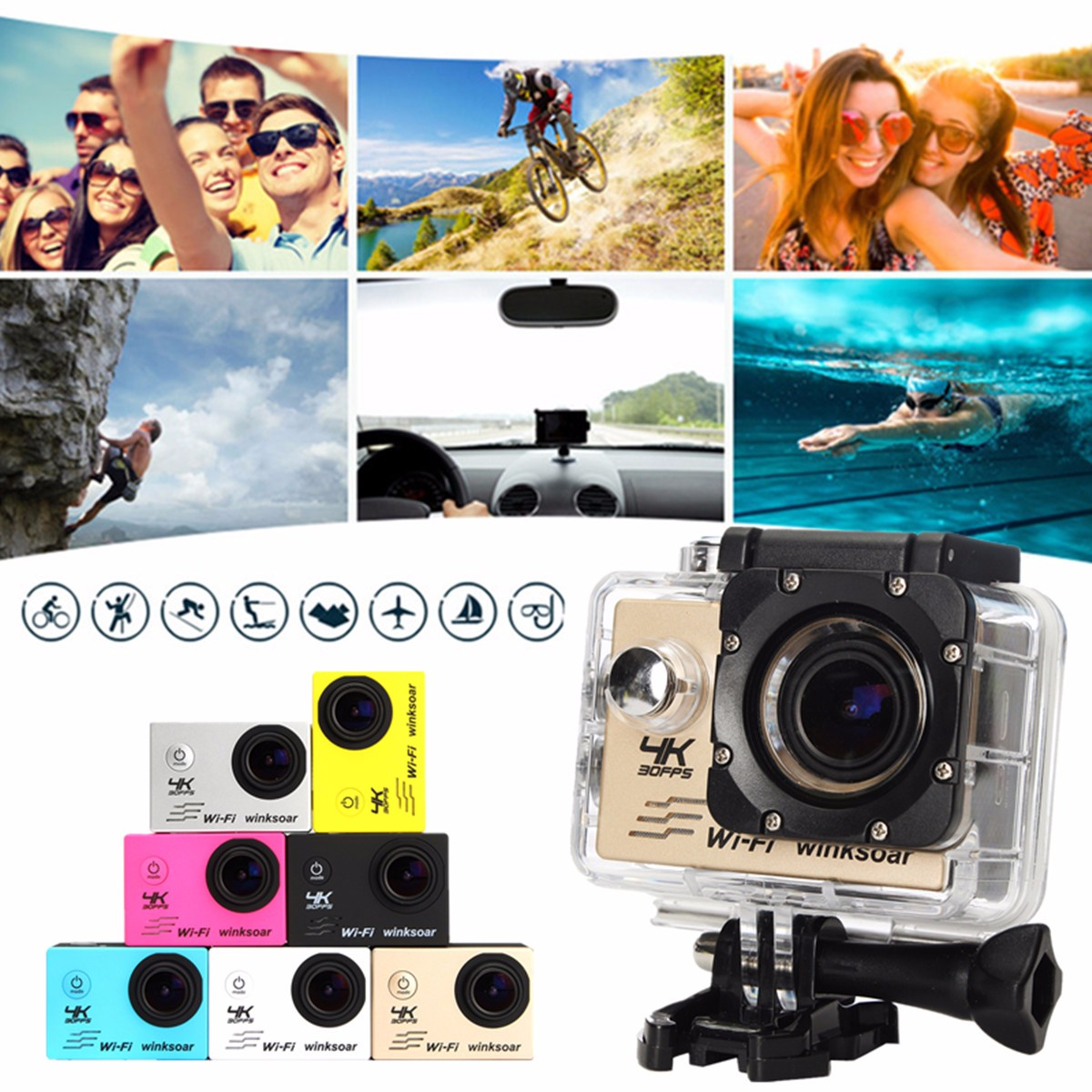 Winsoar SJ9000 4K Sport Action DV Camera Camcorder Ultra HD 120 Waterproof WiFi 2.0'' Yellow White Black Silver Gold Blue Pink f88 action camera black