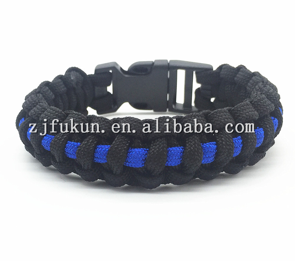 1pc Thin Blue Ones Retail Cobra Paracord Bracelets Kit Military Emergency  Survival Bracelet Men Charm Bracelets