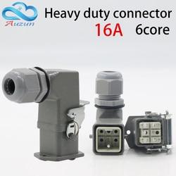 Heavy duty złącze 6 (5 + 1) rdzeń 16A 500 V HA 006 1 wtyczka kątowa w gorącym kanału przepływu tłoczenie na zimno połączenia pin w Złącza od Lampy i oświetlenie na