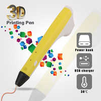 new 3D Pen Amazing best 3D Pens Consumable PCL,PLA Filament Present For Painting One Button Operation Easy To Maintain-Yellow