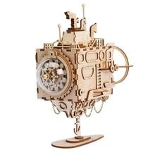 रॉबड असेंबली स्टीम पंक सबमरीन मॉडल म्यूजिक बॉक्स लकड़ी बिल्डिंग किट खिलौने शौक पहेली बच्चों के लिए उपहार एच 66