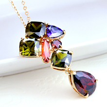 famous brand necklace Natural zircon pendant Color Crystal clavicle chain Women jewelry accessories girlfriend gift