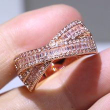 Lots of Stock Stunning Luxury Jewelry 925 Sterling Silver&Rose Gold Fill Princess Cut Pave 5A CZ Women Wedding Cross Band Ring(China)