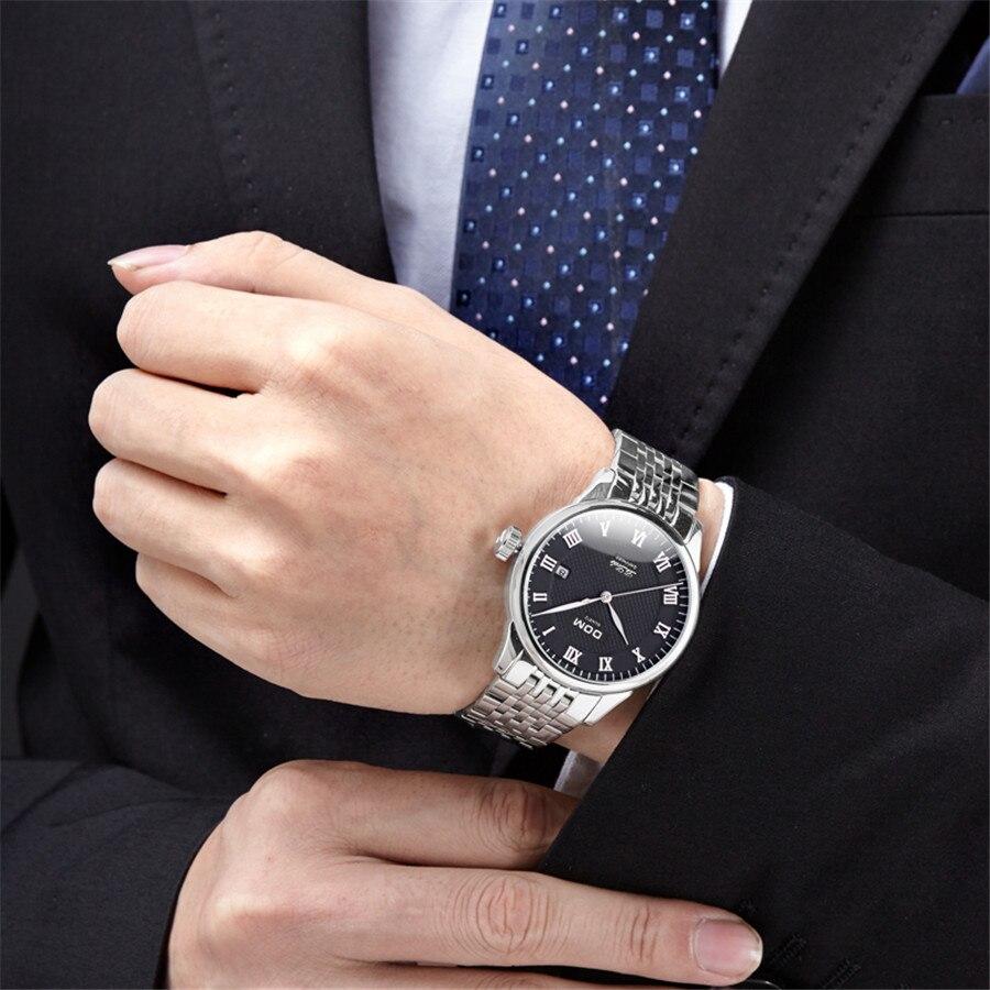 DOM cuir hommes montre 2018 Top marque de luxe célèbre Auto Date montre-bracelet mâle horloge étanche montre à Quartz Relogio Masculino - 6