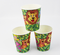 12pcs happy birthday party decoration disposable tableware paper cups lion king  cartoon pattern Kids Party supplies