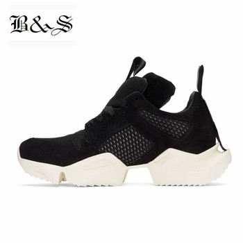 2019 New Black& Street Men thick sole knight casual leather shoes Spring Summer breathable trainer hollow personalized Shoes