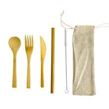 Набор бамбуковых столовых приборов, Бамбуковая посуда, 6 шт, многоразовые бамбуковые столовые приборы, набор посуды для путешествий, Бамбуковая соломенная ложка, нож, вилка, ложка-кисточка
