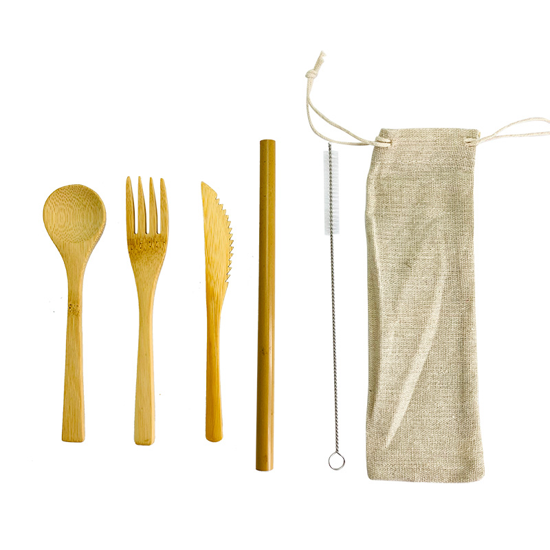 Bamboo Cutlery Set Bamboo Utensils 6pcs Reusable Bamboo Flatware Set Travel Utensils Bamboo Straw Spoon Knife Fork Spoon Brush