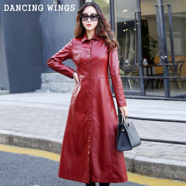 017a2105c83 Black Red Spring Autumn Long Leather Coat Slim Style Single Breasted Women  PU Leather Trench Coats Plus Size 5XL