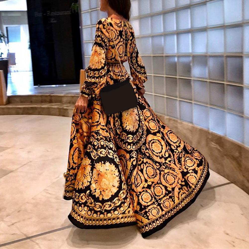 Вечеринка Для женщин Sexy Глубокий V шеи высокий разрез с длинным рукавом платье Макси