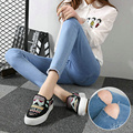 Mulheres grávidas calça jeans para o verão cheio comprimento do joelho com buracos denim calças maternidade magras calças barriga cintura elástica calça jeans XXXL