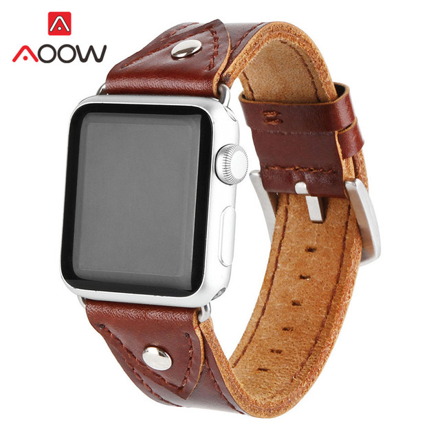 Genuine Leather Men Watchband for Apple Watch 38mm 42mm 44 Handmade Rivet dec Replacement Bracelet Band Strap for iwatch 1 2 3 4