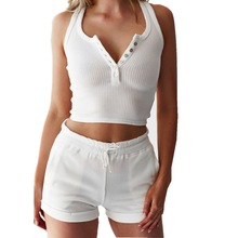 2 Piece Set Women Button Vest Top And Drawstring Shorts 2019 Summer Female Solid Color White knitting Tracksuits Two-Piece