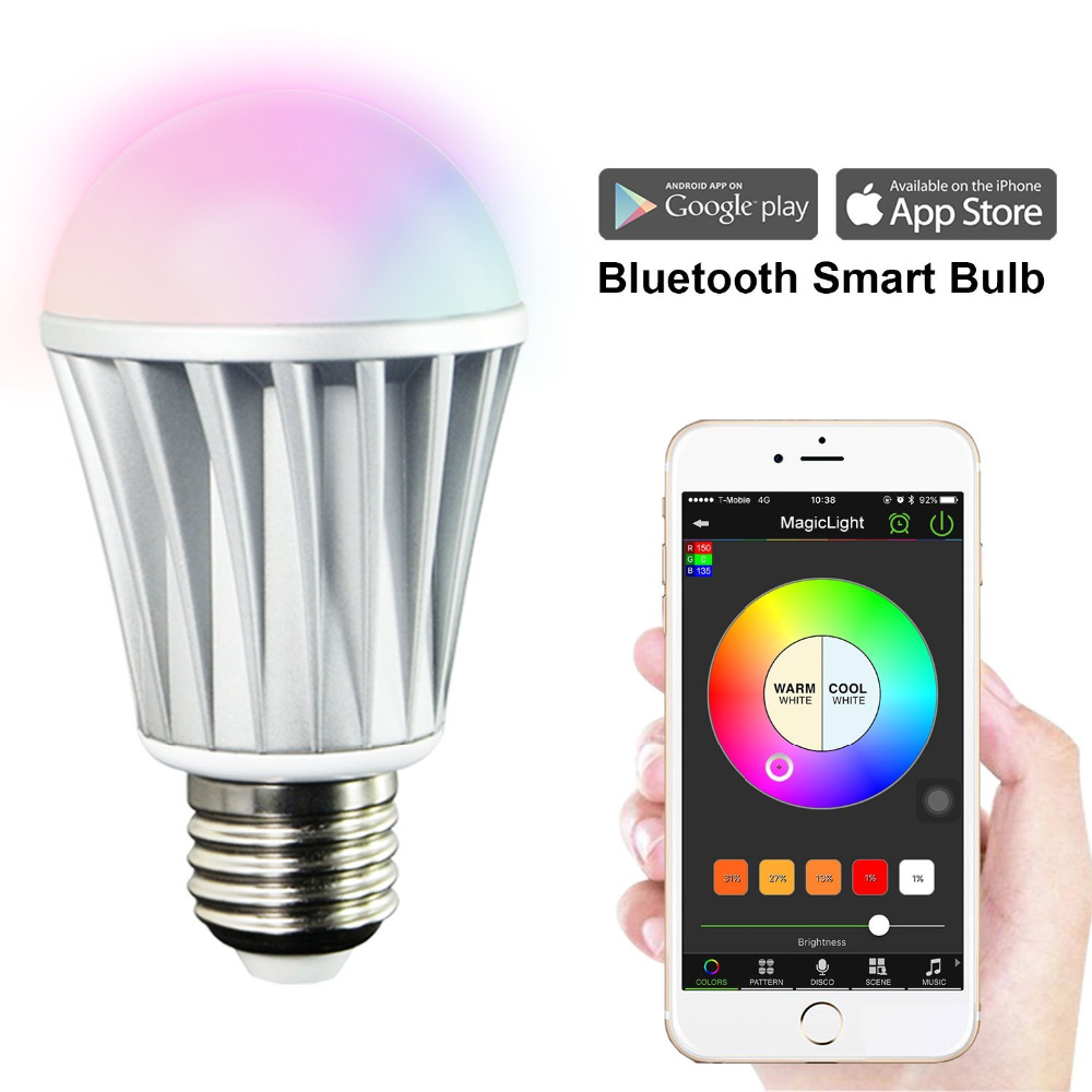 MagicLight Bluetooth Smart LED Light Bulb - Smartphone Controlled Sunrise Wake Up Lights - Dimmable Multicolored Color Changing philips hf350570 wake up light световой будильник