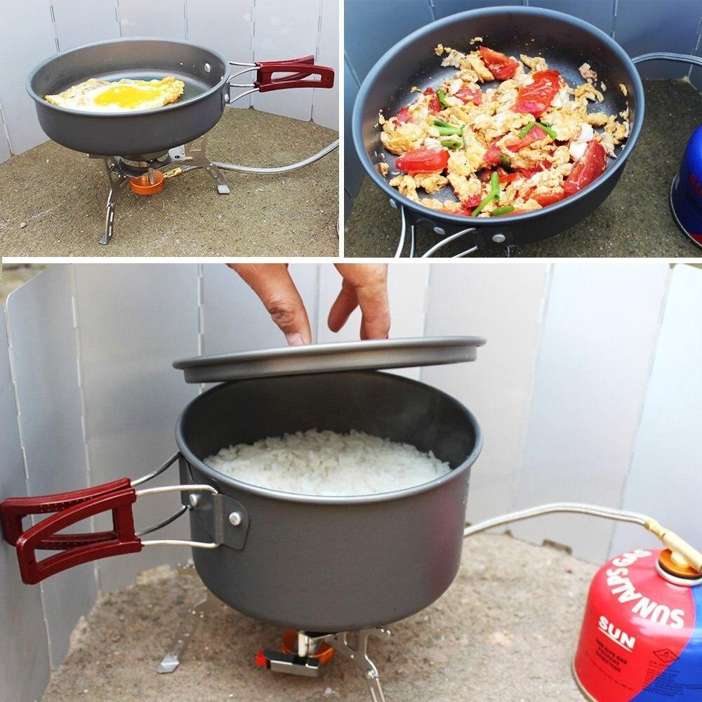 14 pièces Camping batterie de cuisine ensemble Pot Portable en Aluminium extérieur antiadhésif cuisson Kit pique-nique casserole pour sac à dos randonnée Trekking