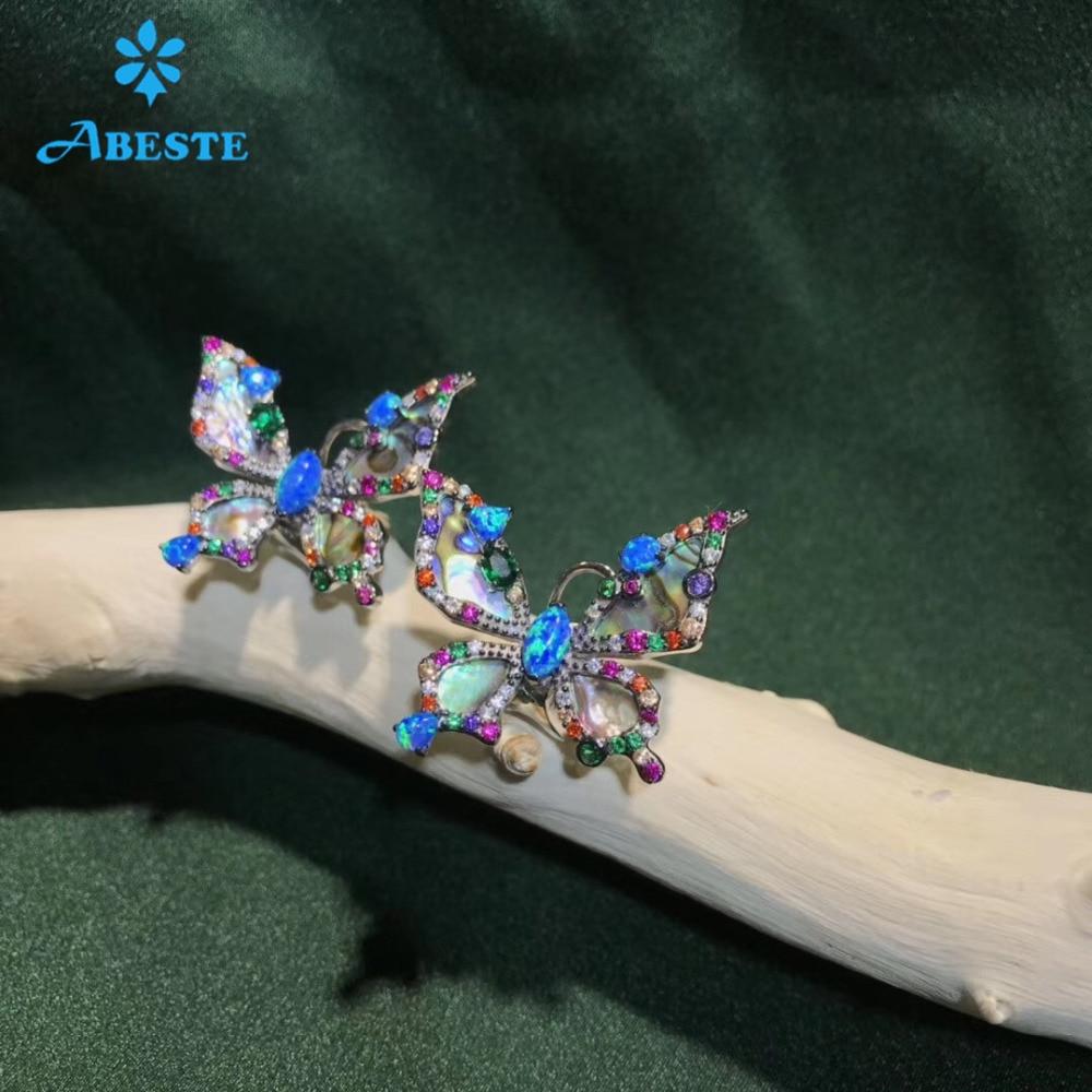 ANI 925 Sterling Silver Women Stud Earring CZ Earring Handmade Jewelry Colorful Butterfly Shape Design aretes 925 jewelry in Earrings from Jewelry Accessories