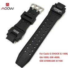 ff4483de3d6 AOOW 22 milímetros Preto Substituição Strap Banda Acessórios Relógio  Pulseira de Silicone para Casio G Shock GA-1000 1100 GW-400.