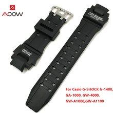 66f8c430 AOOW черный замена ремешок аксессуары для часов силиконовые браслет для Casio  G шок GA-1000/1100 GW-4000/A1100 G-1400